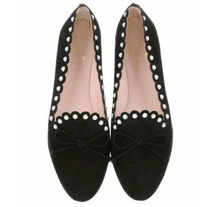 Kate Spade Black Suede Pearl Slip On Loafers Flats